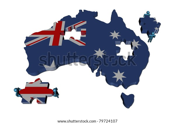 Australia Map Jigsaw.People Large Jigsaw Pieces Australia Map Stock Illustration 79724107