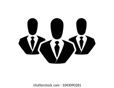 People line vector icon. Outline persons solid, group linear black pictogram. Simple image business collective people. Labor men collective silhouette. Office staff icon, bodyguards. Employees of bank