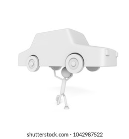 People model uplift the car with debtor concept. 3D rendering.