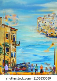 People in the morning european town near the sea, oil painting illustration