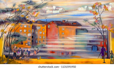 People at the morning street, oil painting artwork