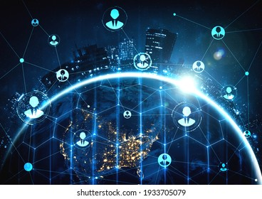 People network and global earth connection in innovative perception . Business people with modern graphic interface linking many people around world by social media . 3D illustration .