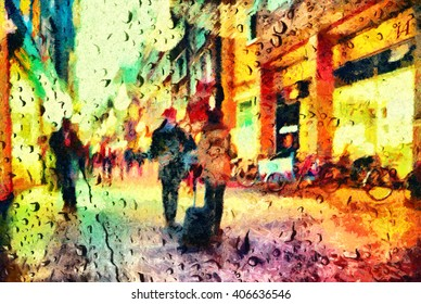 People on Amsterdam street through window rain drops oil painting