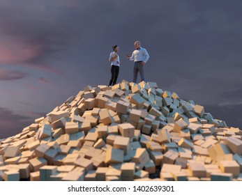 people on a top of pile of parcel boxes, 3d illustration