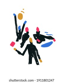 People organize with color shape. Teamwork illustration concept.