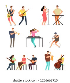 People performing music. Musicians with musical instruments. cartoon characters isolated