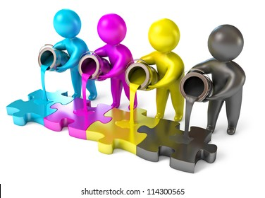 People poured out of the paint bucket. CMYK (cyan, magenta, yellow, black). Isolated on white background. 3d render