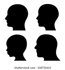 People Profile Head Silhouettes Set.