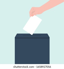 People puts a letter document in a ballot box or mail. Flat design