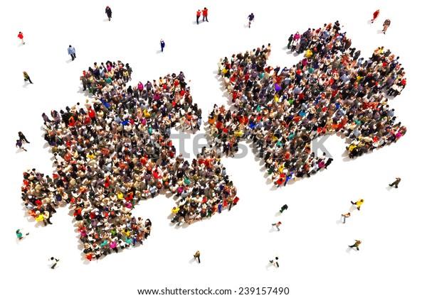 Menschen, die die Stücke zusammen Konzept . Große Gruppe von Menschen in Form von zwei Puzzleteilen auf weißem Hintergrund.