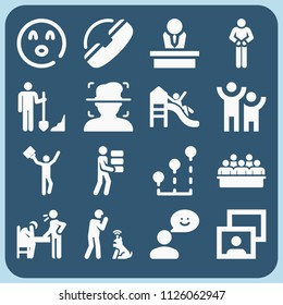 People related set of 16 icons such as humanpictos, worker, bricks, shovel, support, playground, chief, stats, surprise, feedback, portrait, robot, jury, convict