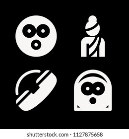 People related set of 4 icons such as support, surprised, shocked