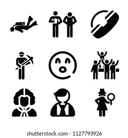 People related set of 9 icons such as miner, support, female detective, teacher, diver, businessman, surprise, concert