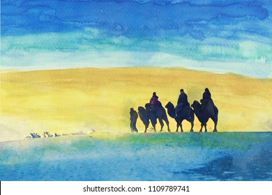 People are riding camels in a desert. Watercolor painting.