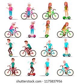 People Riding Hoverboard, Bicycle. City Bike. Outdoor Sport Activity. Gyro Scooter. Activity. Two-Wheel Electric Self-Balancing Scooter. Eco Friendly. Illustration