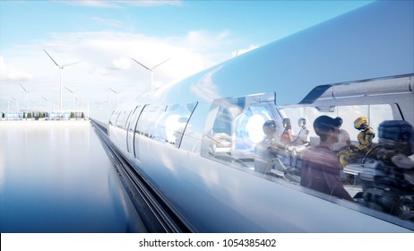 People and robots. Sci fi station. Futuristic monorail transport. Concept of future. 3d rendering.