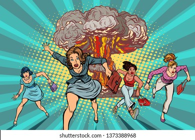 people run away from a nuclear explosion. Pop art retro  illustration comic cartoon kitsch drawing