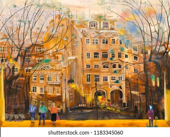 People in Saint-Petersburg's yard. Oil painting cityscape.