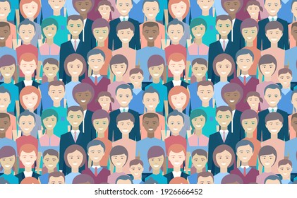 People seamless pattern. Man, woman, youth, seniors, children. Businessman, businesswoman. Civilian population is smiling. Happy faces of different races and ages. No discrimination. Flat illustration