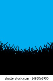 people shouting, event party, festival Applause audience. Crowd cheering against blue background
