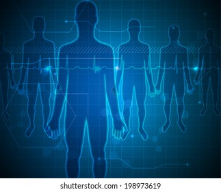 People silhouette blue background, medical technology concept