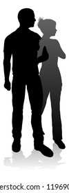 People silhouette of a young man and woman, probably a couple or husband and wife