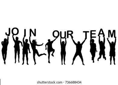 People silhouettes holding letters with words JOIN OUR TEAM