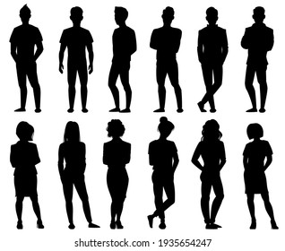 People silhouettes. Male and female anonymous person silhouettes. Adult people group outline symbols isolated  illustration set
