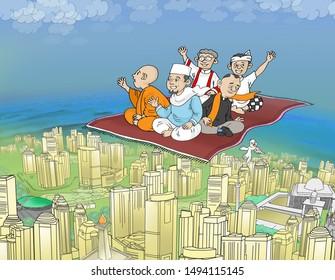 people sitting on flying carpets, cartoon illustrations