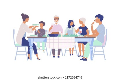 People sitting at table decorated with candles, eating food, drinking wine and talking to each other. Family holiday dinner. Flat cartoon characters isolated on white background. illustration.