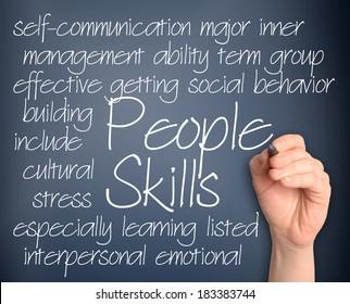 People skills word cloud handwritten on dark blue background