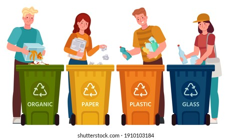People sorting garbage. Men and women separate waste and throwing trash into recycling bins. Ecology lifestyle  illustration. Waste and garbage, throwing rubbish, environmental segregation