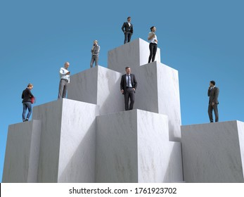 people stand on the steps of the pyramid, 3d illustration