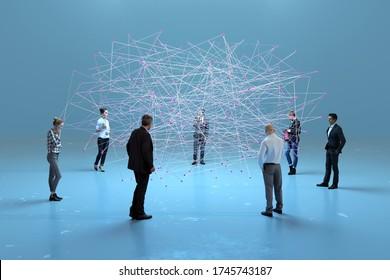 people standing around big data cloud, 3d illustration