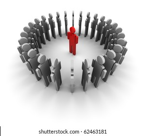 People standing in a circle, one person is red in the middle.