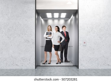 People standing in elevator in corridor with concrete walls. Concept of large company routine. 3d rendering. Mock up.