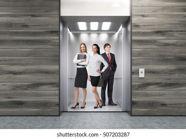People standing in elevator in corridor with wooden walls. Concept of large company routine. 3d rendering. Mock up.