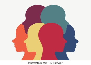 People standing in a group but looking in different directions. Religious diversity illustration. Racial diversity icon.