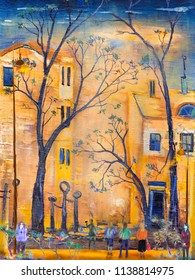 People at the street of autumn town, oil painting artwork