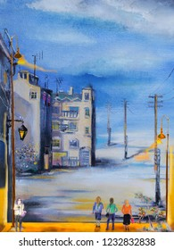 People at the street with posts. Monochrome oil painting cityscape.