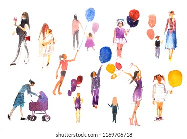 People summer outdoor activity vacation, holiday Watercolor illustration.