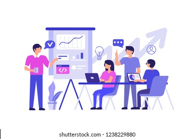 People team work together. Can use for web banner, infographics, hero images. Flat  illustration isolated on white background.