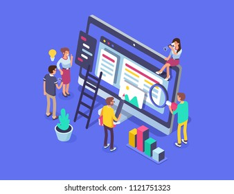 People team work together in web industry. Can use for web banner, infographics, hero images.  Flat isometric illustration isolated on white background.