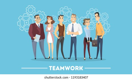 People in team working together like gears.