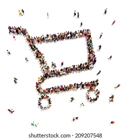 People that like to shop. Large group of people in the form of a shopping cart. Shopping or sale concept on a white background.Room for text or copy space,