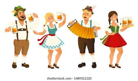 People in traditional German, Bavarian costume holding beer mugs, Oktoberfest, cartoon illustration isolated on white background. Full length portrait of German people in traditional costumes.