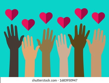 People united willing to volunteer. Hands and Hearts. Unity gives love. Charity. Spread the love.