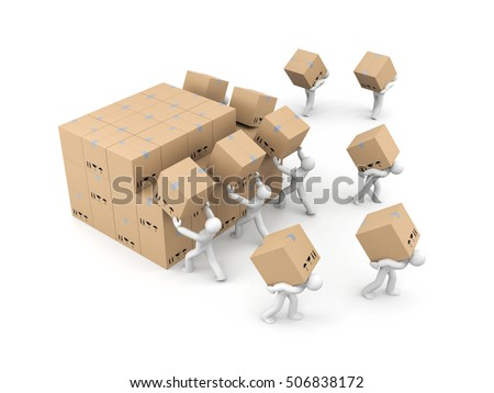 people unload bunch boxes parcel delivery stock illustration