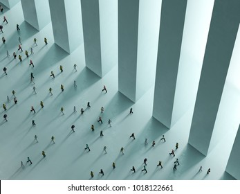 People walking against the white background top view 3D rendering