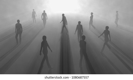 People walking in fog. 3d render